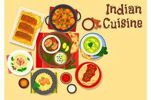 Indian cuisine dinner with cream dessert icon