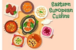 Eastern european cuisine dinner menu icon design