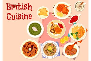 British cuisine traditional dinner menu icon
