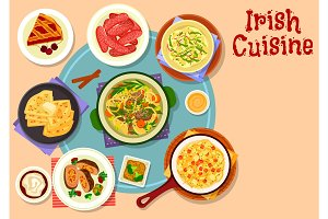 Irish cuisine traditional dinner with dessert icon