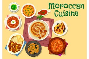 Moroccan cuisine traditional dishes icon design