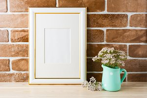 Gold decorated frame mockup