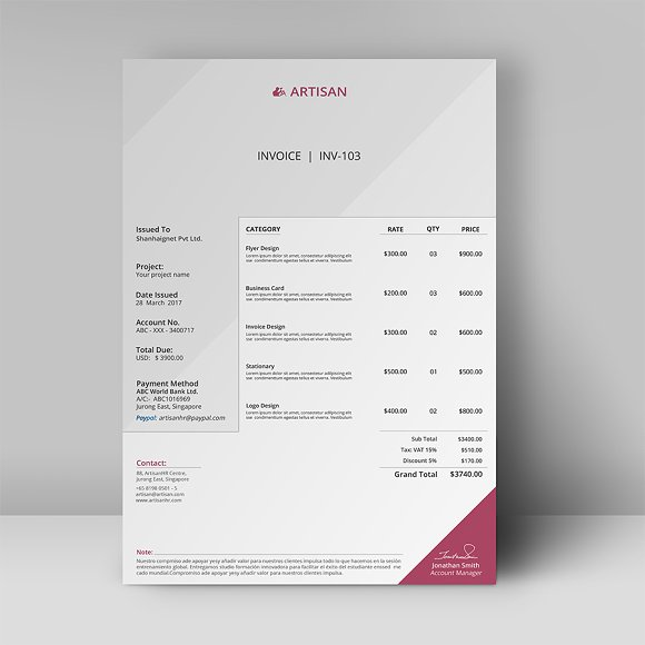 invoice stationery templates creative market