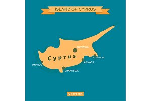 Island of Cyprus, with a mark cities on it vector illustration