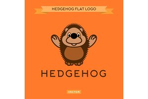 Smiling nice hedgehog welcomes the flat style vector logo
