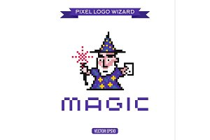 Logo pixel art wizard magician magic, vector illustrations icon