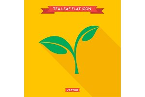 Green leaf tea into flat style vector icon