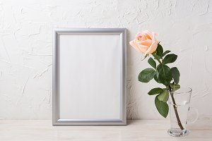 Silver frame mockup with pink rose