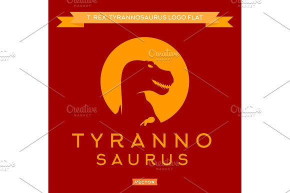 Dinosaur T-rex Silhouette Against The Sun With Open Mouth Furious Stylish Logo Vector
