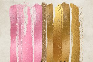 Pink and Gold Glam Paint Strokes