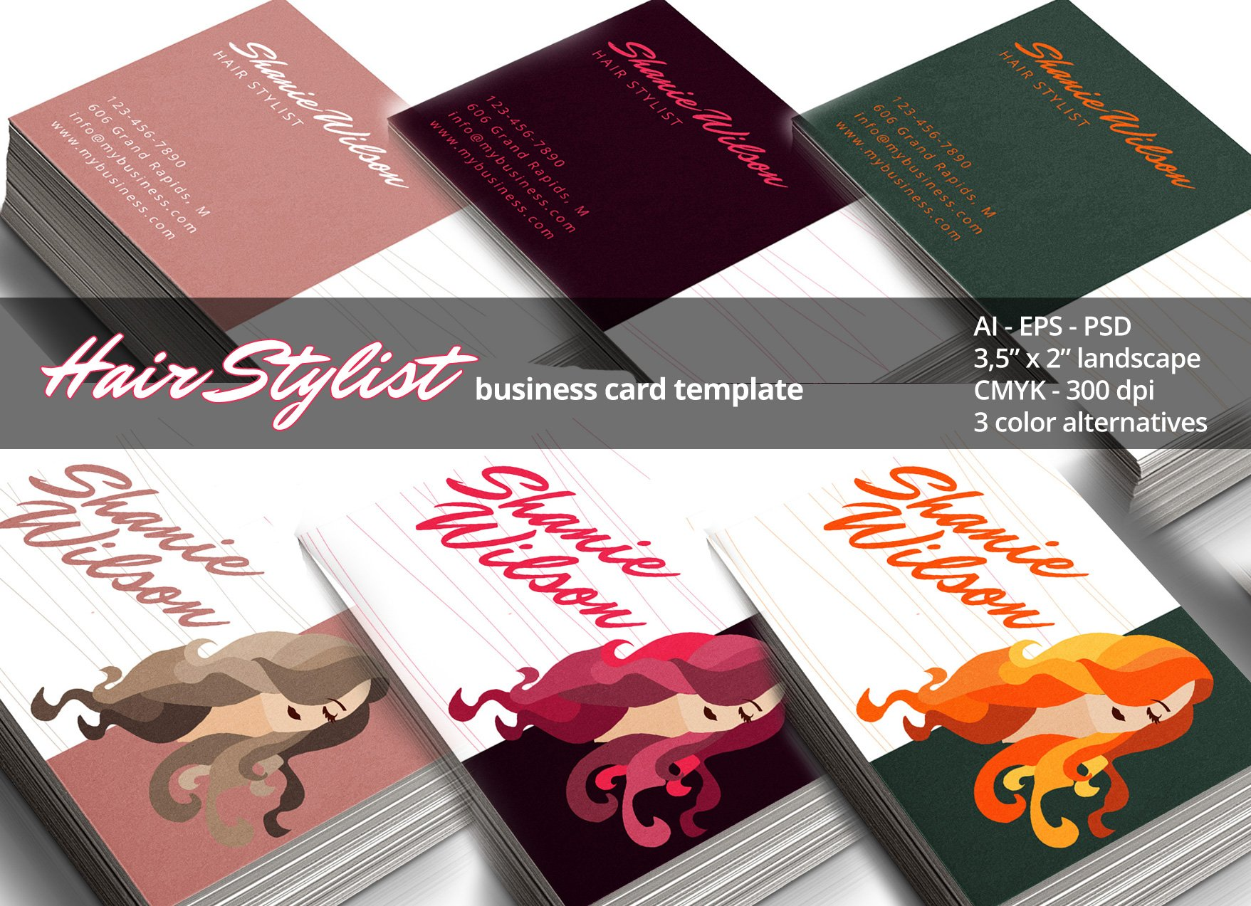 Hair stylist business card business card templates creative market colourmoves