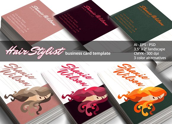 Hair stylist business card business card templates creative market wajeb Choice Image
