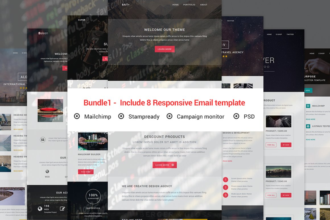Bundle1 - Include 8 Responsive email ~ Email Templates ~ Creative Market