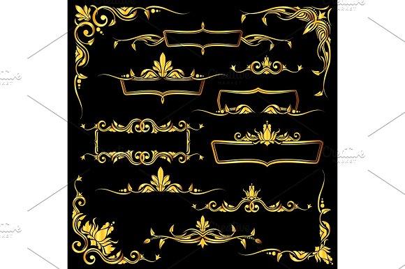 Golden Ornate Vector Frames Borders And Corner Elements Set