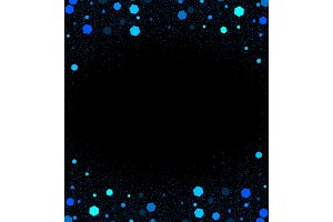 Black background with little shiny dark and light blue elements