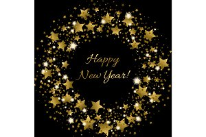 Happy New Year greeting card with golden inscription in centre