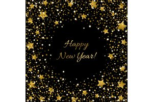 Happy New Year Card Ssparkle sequin tinsel bling for invitations