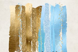 Blue and Gold Glam Paint Strokes