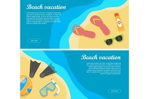Summertime and Beach Vacation Posters Set.