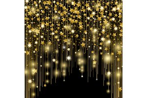 Star splashes, blurred spots, vertical golden lines, glittering space dust