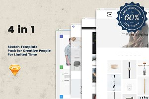 4in1 (85% Off) Sketch Templates Pack
