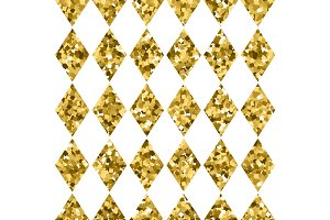 Seamless pattern golden diamonds isolated on white. Gold sparkling rhombus