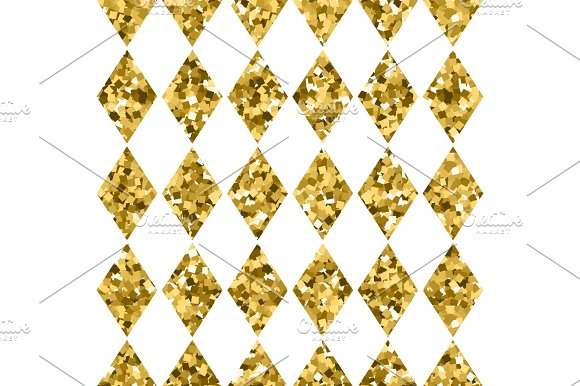Seamless Pattern Golden Diamonds Isolated On White Gold Sparkling Rhombus