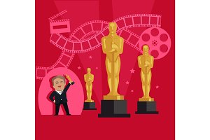 Film Awards Design Flat Banner Concept