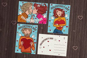 Valentine cards with lovers