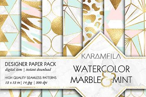 Marble Pink Mint & Gold Backgrounds