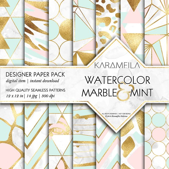 Marble Pink Mint Gold Backgrounds