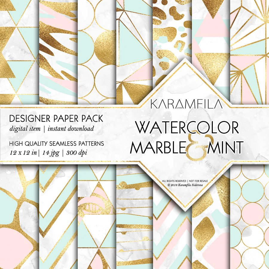 Marble Pink Mint Amp Gold Backgrounds Graphic Patterns