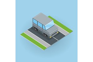 Car on Road Illustration in Isometric Projection.