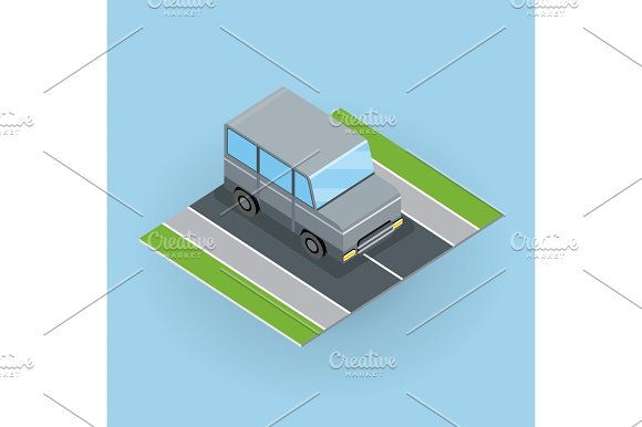 Car On Road Illustration In Isometric Projection