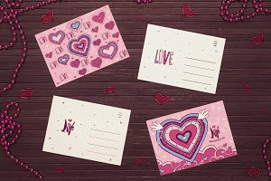 Valentines cards with hearts
