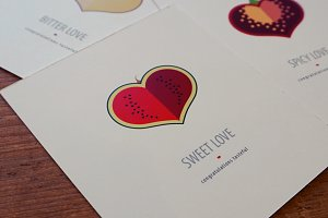 Valentine cards set with taste