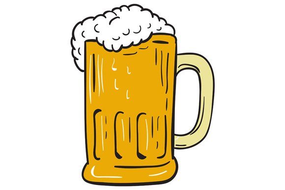 One Line Art Beer : Beer mug drawing illustrations creative market