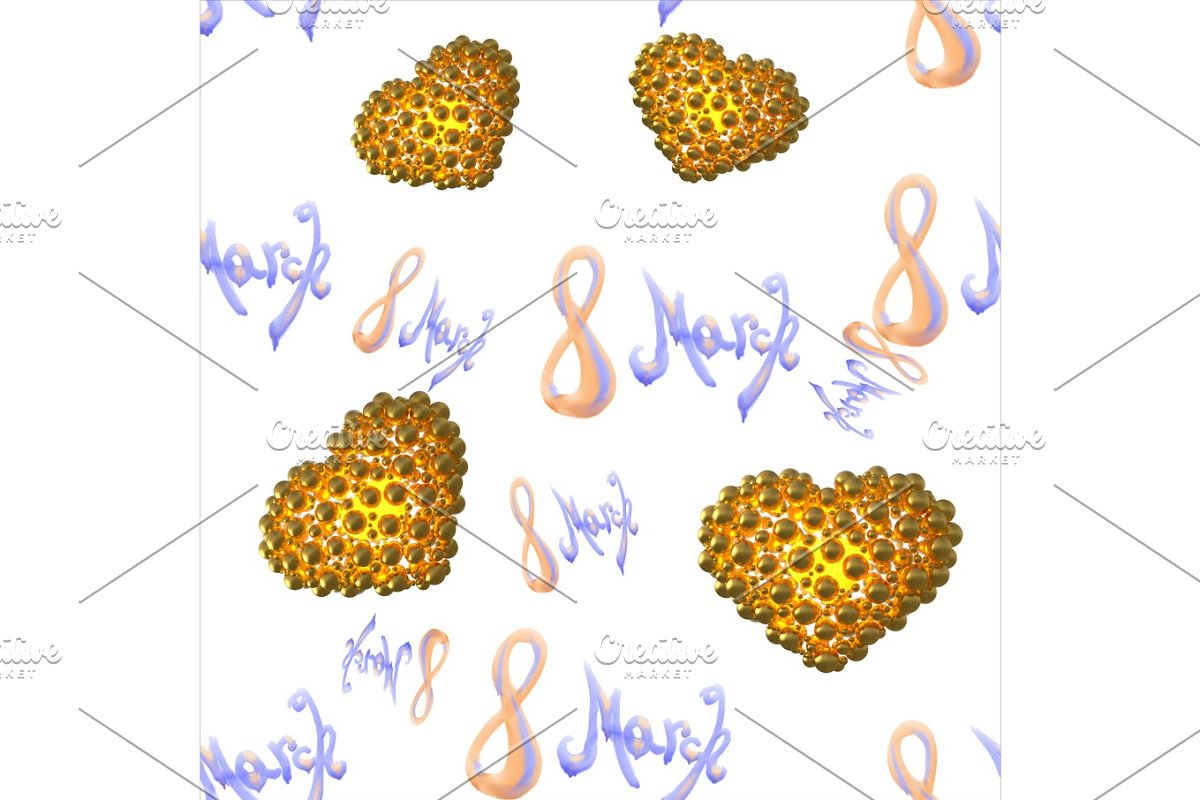 8 march watercolor lettering word isolated on white background with hearts. Happy womans day seamless design pattern. 3d illustration