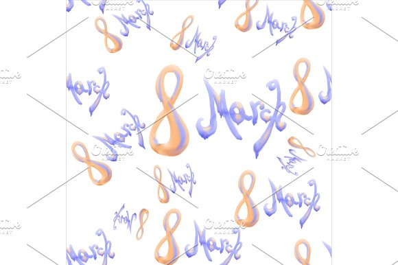 8 march watercolor lettering word isolated on white background. Happy womans day seamless design pattern in Illustrations