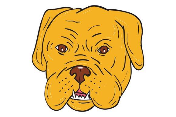 Bordeaux Dog Head Cartoon
