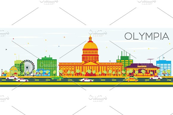 Olympia Skyline with Color Buildings