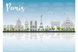 Paris skyline with gray landmarks