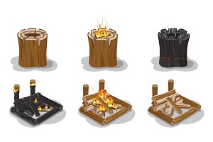 Campfire Set Isolated on White Vector Poster.