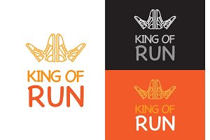 King of Run on Different Background. Fitness.