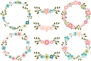 Pink and blue floral wreath clipart