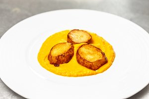 Carrot puree with grilled potato