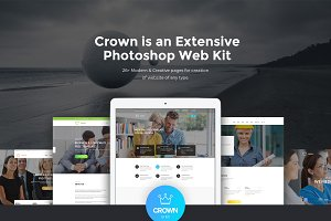 Crown Extensive Photoshop Web Kit