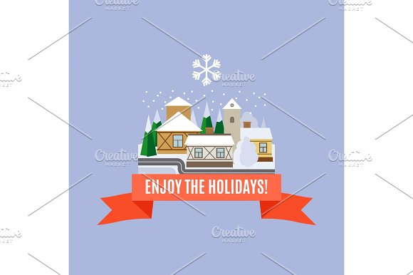 Small Town Winter Landscape Card
