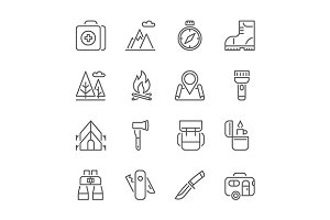 camping, hiking, tourism line icons
