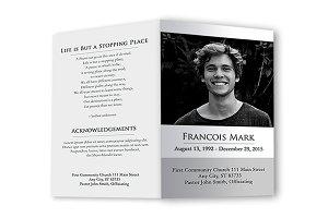 Funeral Program Black & White